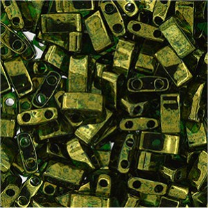 Miyuki Halb Tila Perlen 2,2x5mm Luster Olive Gold HTL0306 ca 7,8gr
