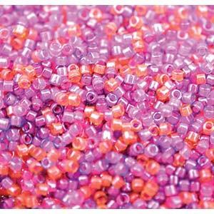 Miyuki Delica Perlen Neon Mix04 1,6mm DB2064 luminous Pink Purple Peach ca 5gr