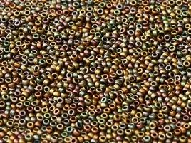 Miyuki Rocailles Perlen 2mm Czech Coating 55120 Rainbow Purple Gold ca 12 gr