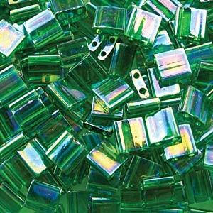 Miyuki Tila Perlen 5mm transparent luster Green TL0179 ca 7,2gr