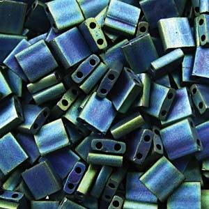 Miyuki Tila Perlen 5mm matt metallic Blue Green TL2064 ca 7,2gr