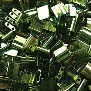 Miyuki Tila Perlen 5mm luster Olive Green Gold TL0306 ca 7,2gr