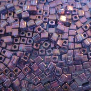 Miyuki Würfel Perlen, Cube, Square Beads 4mm 1884 luster Violet Gold 25gr