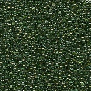 Miyuki Rocailles Perlen 2mm 0229 insinde colorlined Olive Green 12gr