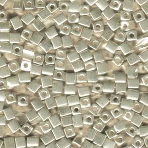 Miyuki Würfel Perlen, Cube, Square Beads 4mm 1051 galvanized Silver 20gr