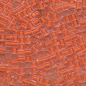 Miyuki Würfel Perlen, Cube, Square Beads 4mm 0236 insinde colorlined Orange 25gr