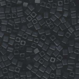 Miyuki Würfel Perlen, Cube, Square Beads 4mm 0401F opaque matte Black 20gr