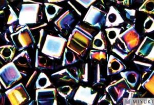 Miyuki Perlen Sharp Triangle Beads 2,5mm 0455 metallic rainbow Green Blue Violet 13 Gr.