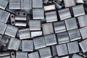 Miyuki Tila Perlen 5mm Metallic Silver Grey Matt TL2002 7,2gr