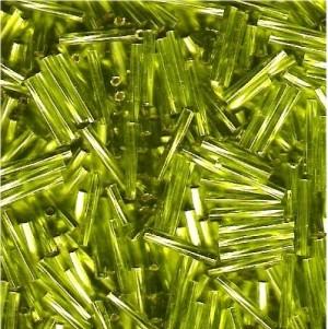 Miyuki Stäbchen Perlen gedreht 12mm 0014 transparent silverlined Lime Green ca14gr.