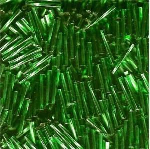 Miyuki Stäbchen Perlen gedreht 12mm 0016 transparent silverlined Kelly Green ca14gr.