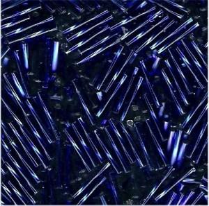 Miyuki Stäbchen Perlen gedreht 12mm 0020 transparent silverlined Cobalt Blue ca14gr.